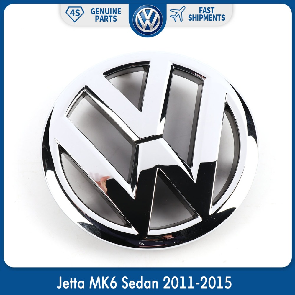 Car Auto VW Emblem Chrome OEM Front Grille Badge Sticker For Volkswagen Jetta MK6 Sedan 2011-2015 5C6853601ULM 5 pieces set front auto fog lights with racing grills cable auto accessories for volkswagen jetta mk6 2011 2014 parts p22