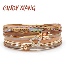 CINDY XIANG New Arrival Rhinestone Star Leather Bracelets For Women Fashion Cuff Bangles Wide Bracelet Summer Beach Jewelry Gift