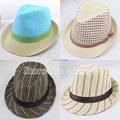 Summer Straw Fedora Hats For Men Chapeau Panama Hats Women Trilby Hats Jazz Hats Free Shipping IV-057