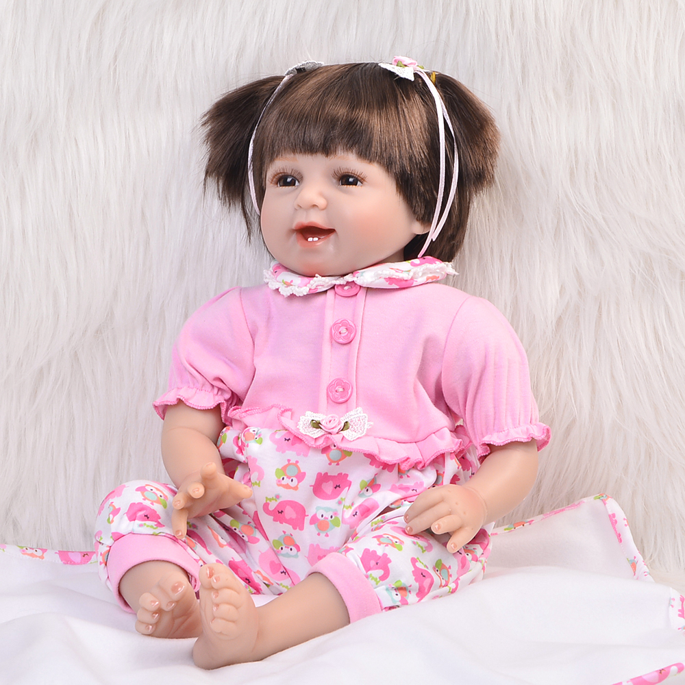 Soft Silicone Reborn Baby Doll 22 Inch Handmade Baby Doll Collectible Love Real Looking Baby Toy Lifelike Baby Alive Doll