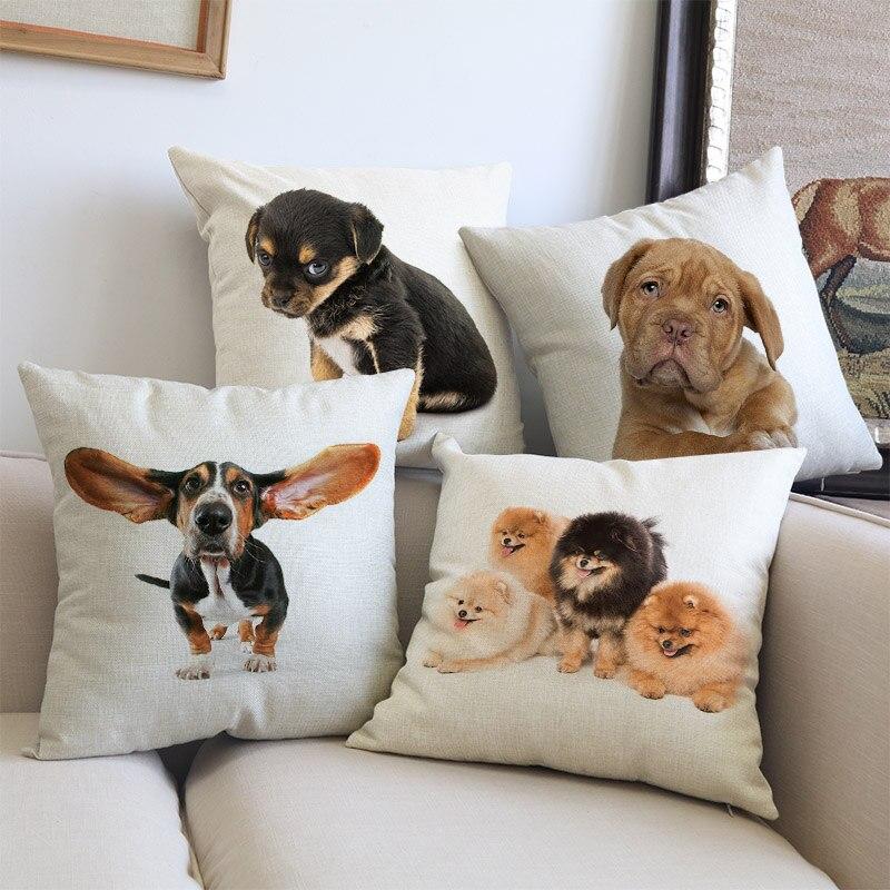Cute Puppy Animal Pet Breed Dogs Dachshund Corgi Pomeranian Shepherd Labrador Bulldog Pillow Case Home Shop Sofa Cushion Cover