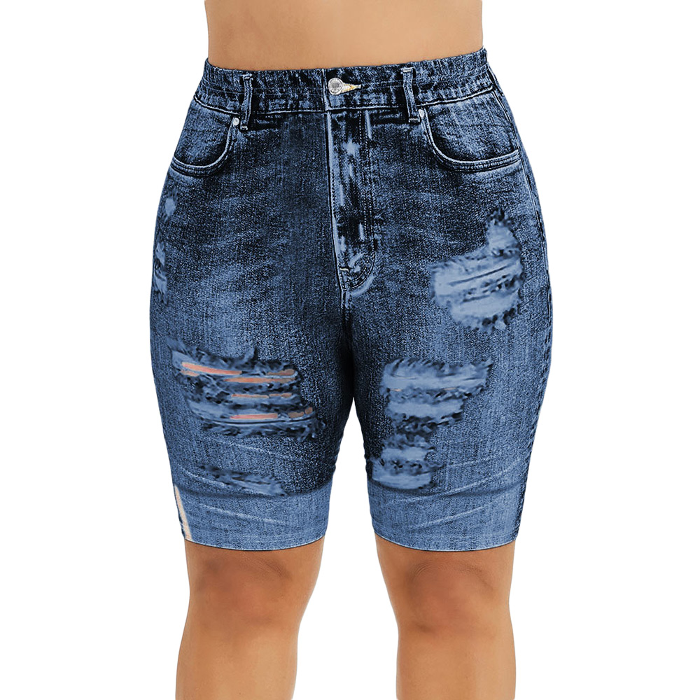 ROSE GAL Plus Size Mini Leggins Shorts Women Summer Sexy Print 3D Elastic High Waist Jeans Short Fashion Female Denim Trouser