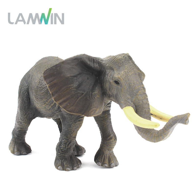 Lamwin Realistic Africa Wild Animal Action Figurine Toy Elephant Solid Type Plastic PVC Figure Model polar marine animal model toy penguin reindeer polar bear blue whale walrus sea l toy model sets pvc figure
