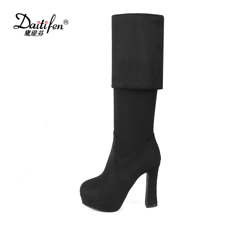 Daitifen Faux Suede Stretch thigh high boots Women over the knee high boots Ladies Autumn winter Slip on High heel boots Size 43 women stretch fabric faux suede patchwork sexy thigh high boots comfort block heel female footwear slip on flower printed shoes