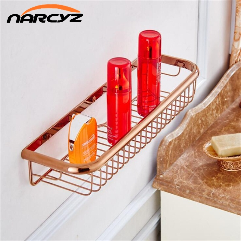 Bathroom Shelves 45cm Single Tier Solid Brass Shower Basket Bath Soap Shampoo Storage Holder Wall Mounted Bathroom Shelf 9121K single tier wall mounted black finish carving brass bathroom shower shampoo shelf basket holder i633