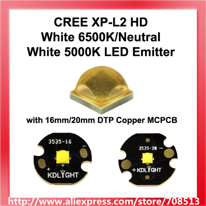 xpl2 - Newest 2020 CREE XP-L2 HD White 6500K/Neutral White 5000K LED Emitter with 16mm/20mm DTP Copper MCPCB - 1pc