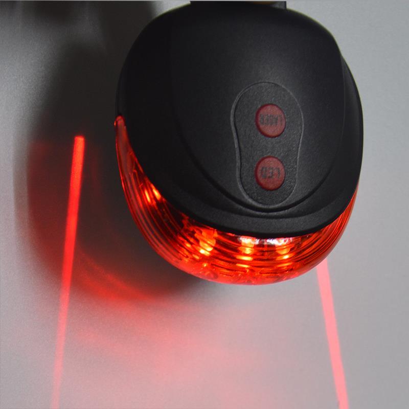 5LED 2 Laser Ciclismo Para Bicicleta luz 7 Modo de Flash Posterior de la Segurid