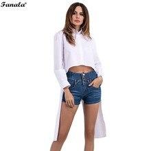 FANALA 2017 Summer Shirts Women White Turn-Down Long Sleeve High Low Hem Cotton Blouses Lady Fashion Loose Tops Tie #30-20