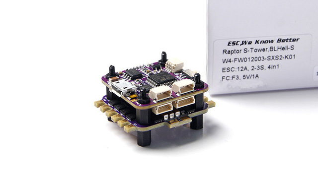 Flycolor Raptor S-Tower 4 in 1 2-3S 12A BLHeli-S ESC Speed Controller with OSD for RC Mini Drone flycolor raptor s tower 30a 4 in 1 esc electronic speed controller 2 4 s support dshot600 f3 flight controller osd