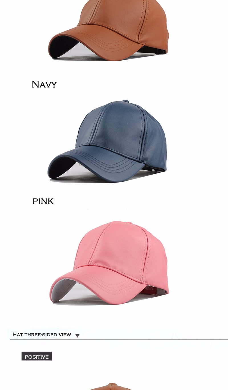FETSBUY New High Quality Leather Cap Biker Trucker Caps PU Solid Color HIP HOP Snapback Baseball Cap Fitted Adjustable Hat 2017 11