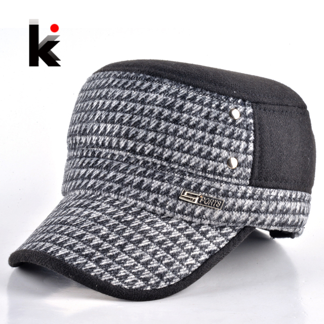 46d62c7fa17 2017 Fashion mens winter hat military style cap with ear flaps caps russia  gorras planas plaid maone hats for men casquette