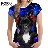 FORUDESIGNS Women Summer Short Sleeve Fashion Light Design Women Tops Cute 3D Animals Printed T Shirt