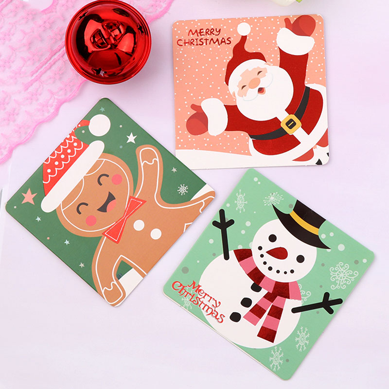 Mini Santa Claus Merry Christmas Tree Paper Greeting Postcards Wishes Craft DIY Kids Festival Greet Cards Gift Kawaii Stationery image
