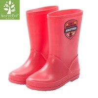 Kocotree Children Rain Boots Kid Boy Girl Anti Skid Natural Rubber Waterproof Red Rain Boots Rainy