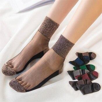 الصيف أزياء المرأة سامسونج شفاف الجوارب بريق كريستال زجاج الحرير الجوارب الجميلة الرباط لامعة مرنة الجوارب القصيرة meias