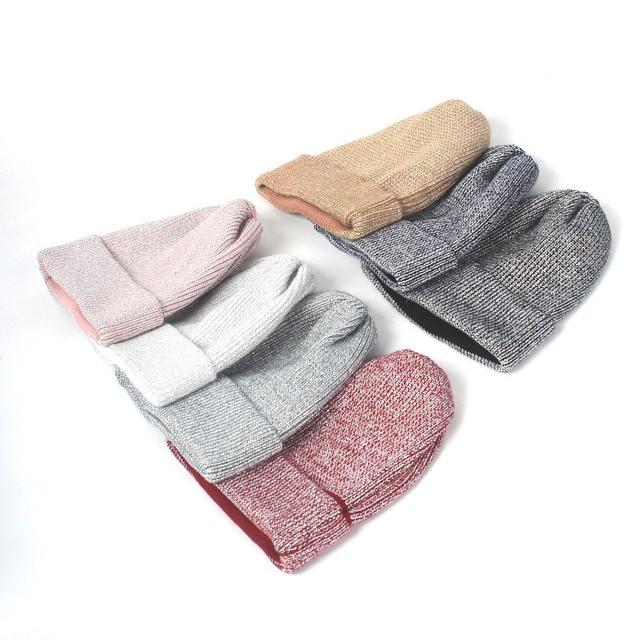 ee4db05407d Women Autumn Winter Hat Fashion Mix Silver Silk Knitted Beanies Cap Female  Skullies Hats Gorros
