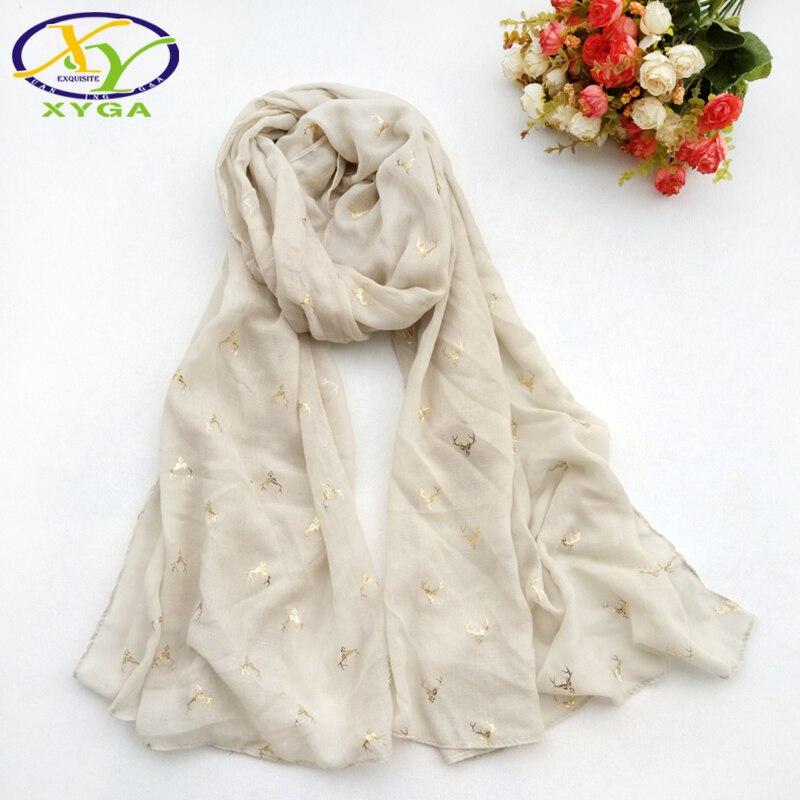 Осенние новые хлопковые позолота голова оленя Для женщин шарф тонкие и мягкие ткани женс ...