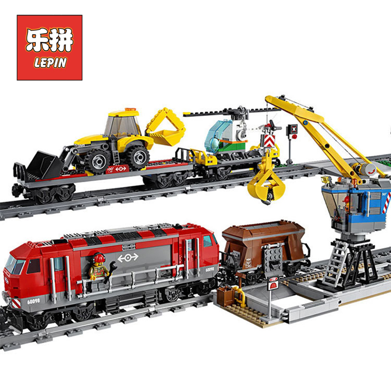 Lepin 02009 1033Pcs City Series The Heavy-haul Train Set Building Blocks Bricks 60098 Educational Toys As Christmas Gifts toy lepin 02009 genuine 1033pcs city series heavy haul train set building blocks bricks educational toys boy christmas gifts 60098