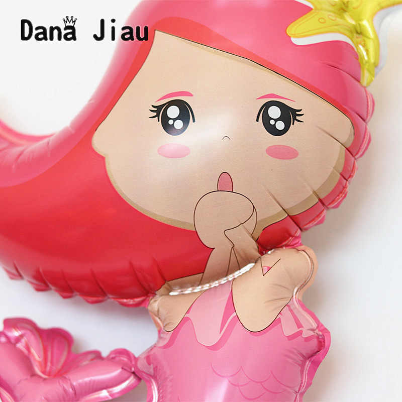 Mini 50*40 cm Sereia balões animal do oceano Princesa balões decoração do casamento da festa de aniversário das crianças presentes de Natal brinquedo