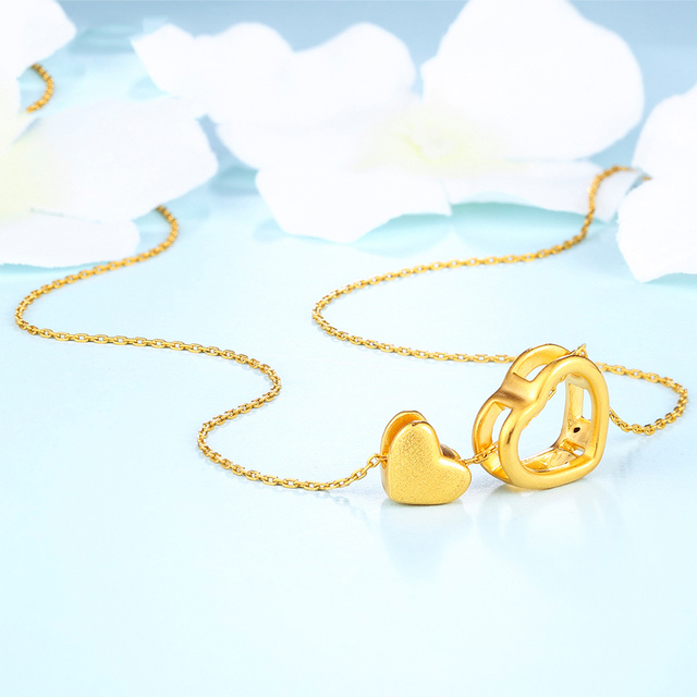 XXX 24K Pure Gold Necklace Real AU 999 Solid Gold Chain Trendy Nice Beautiful Double Hearts Upscale Party Jewelry Hot Sell New 2