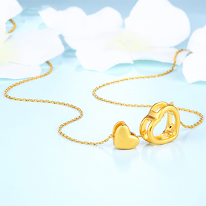Image 2 - XXX 24K Pure Gold Necklace Real AU 999 Solid Gold Chain Trendy Nice Beautiful Double Hearts Upscale Party Jewelry Hot Sell New