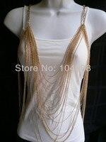 Darmowa wysyłka 2014 new chic kobiety złoty wielu warstw waves łańcuchy metalowe ciało biżuteria długi naszyjnik