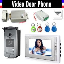 Sistema de intercomunicador de puerta de vídeo de pantalla de 7 + cerradura eléctrica + cámara de panel de aluminio + fuente de alimentación + Salida de puerta + llavero ID