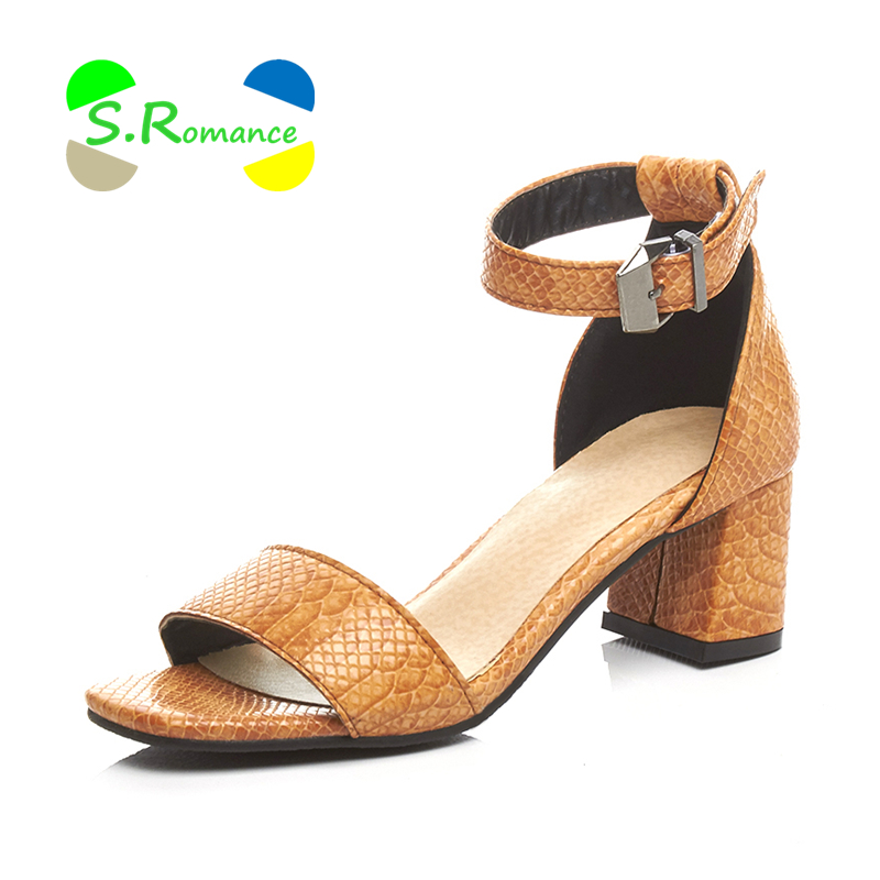 Middle Heels Dutiful S.romance Women Sandals Size 34-42 Snake Print Patent Pu Upper Ankle Wrap Med Square Heels Buckle Womens Fashion Shoes Ss073 Shoes