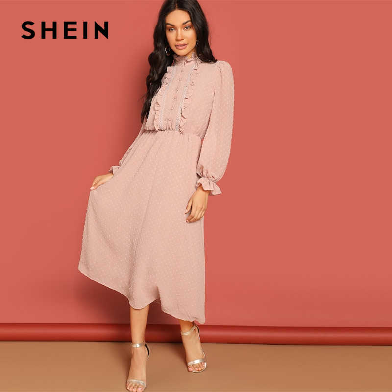 c3efd8ce82 SHEIN Pink Frill and Lace Trim Half Placket Dot Jacquard Stand Collar Dress  Autumn Women Long
