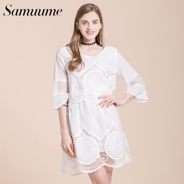 Samuume Elegant Lace Dress Summer Dress Hollow Out Three Quarter ...