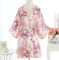 Sexy Pink Plus Size Brides Wedding Robe Dress Women's Elegant Print Satin Nightwear Flowers Kimono Bathrobe Gown Pajamas G09