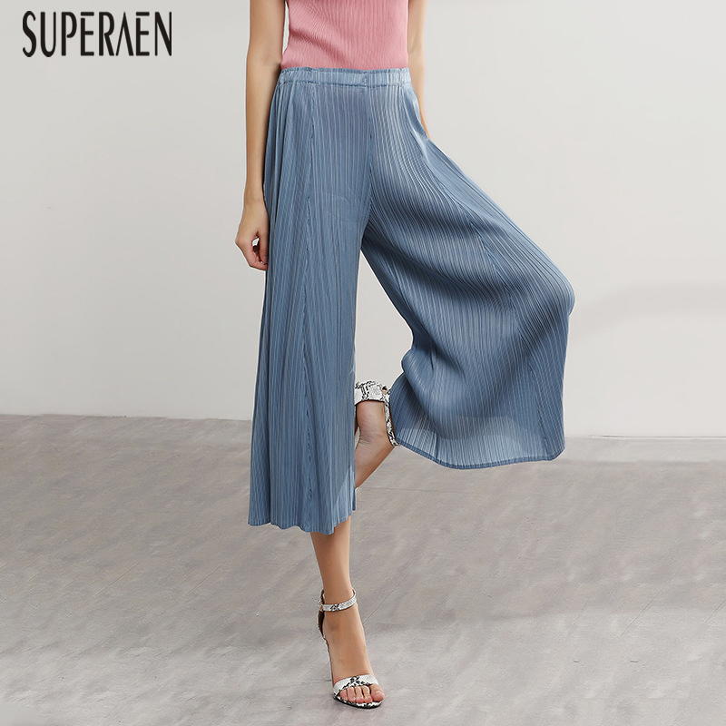 SuperAen Women Casual Pants Summer New 2019 Loose Pluz Size High Waist Ladies Pants Solid Color Fashion Wide Leg Pants Female