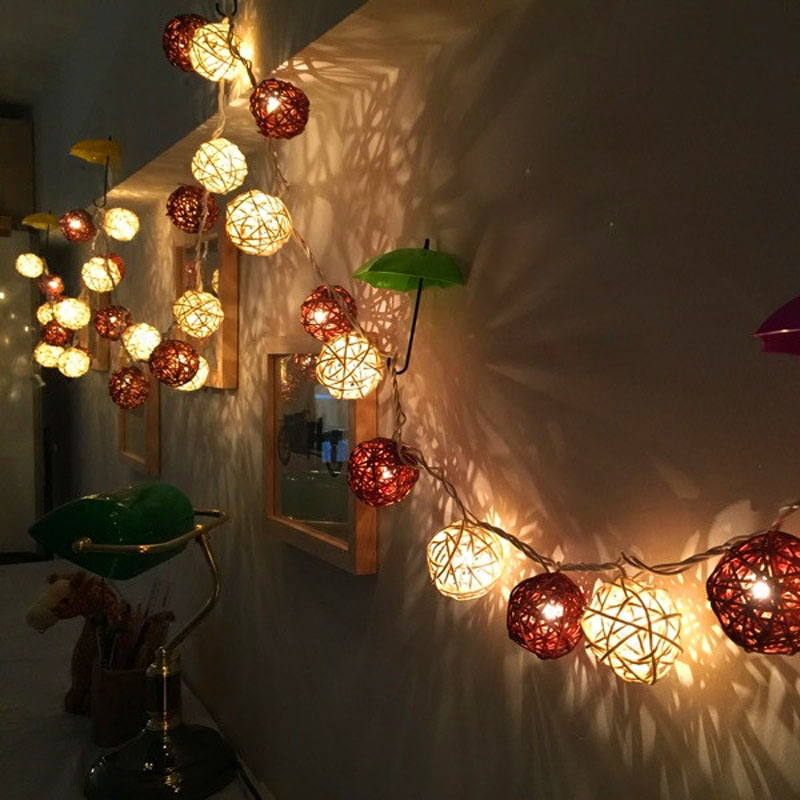 LED String Holiday Lights 20 Coffee White Rattan Ball Lights AC Plug Battery Operated LED Wedding Christmas Tree Lights Garlands