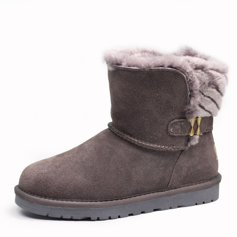 high quality Free Shipping New Arrival 100% Real Fur Classic Mujer Botas Waterproof Genuine Cowhide Leather Snow Boots Winter Sh aiweiyi womens high quality genuine leather real fur 100