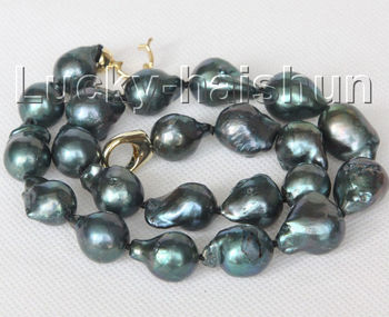 "NEW 17"" 20mm Baroque black-blue Reborn keshi pearls necklace>>>girls for women jewerly Free shipping"