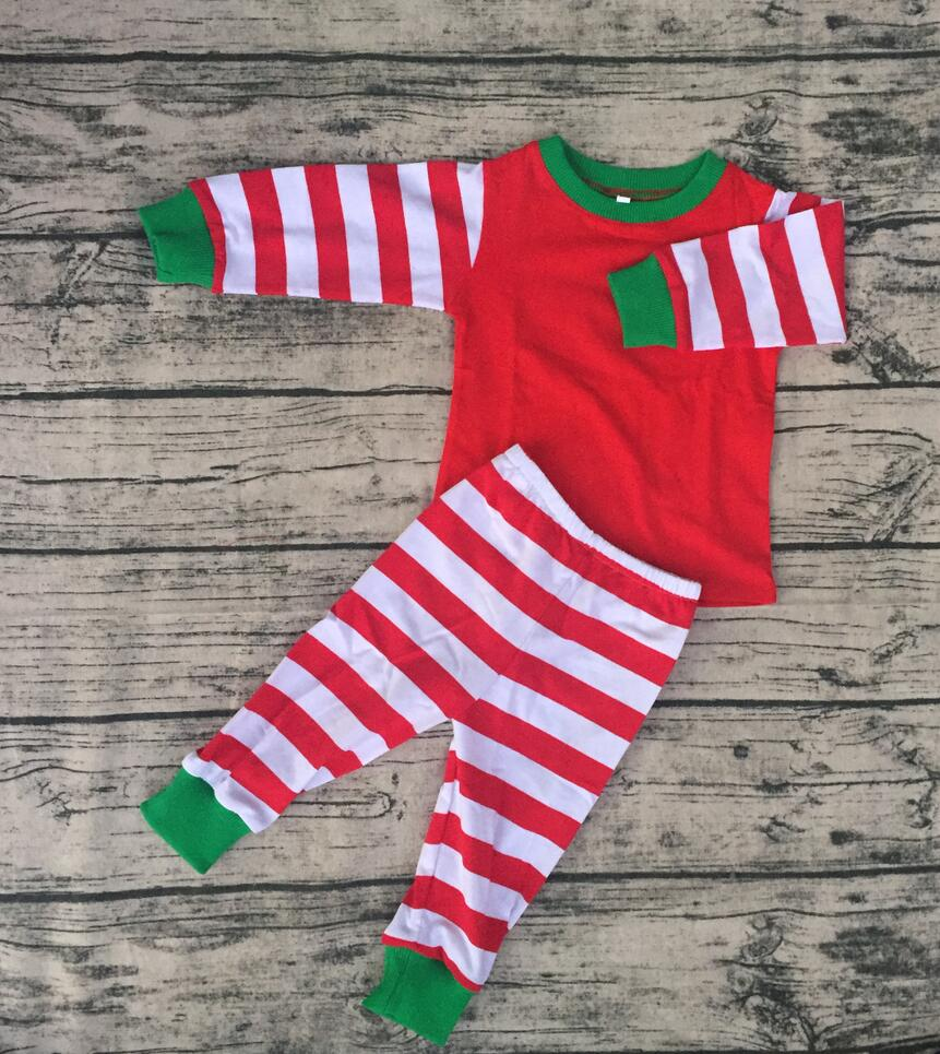 Children red stripe green cuff Christmas pajamas fall winter warmth and comfort baby pajamas suits