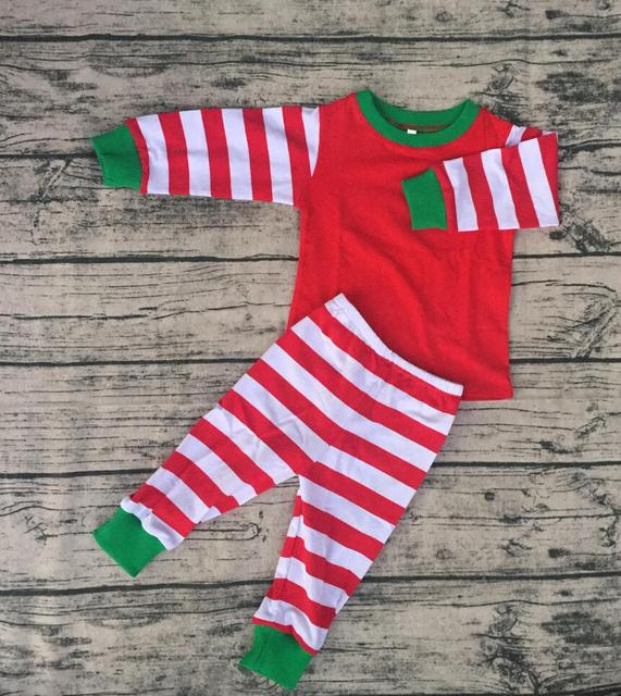 517aa25658 Los niños de la raya roja brazalete verde Navidad pijamas Otoño Invierno  calidez y confort bebé