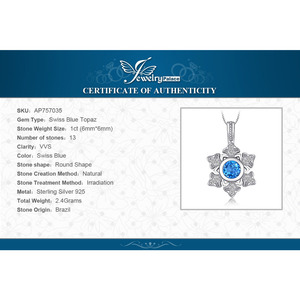 Image 5 - JewelryPalace Snowflake 1.1ct Genuine Blue Topaz Pendant 925 Sterling Silver Pendant Gift For Women Not Contain Chain 2018 Hot