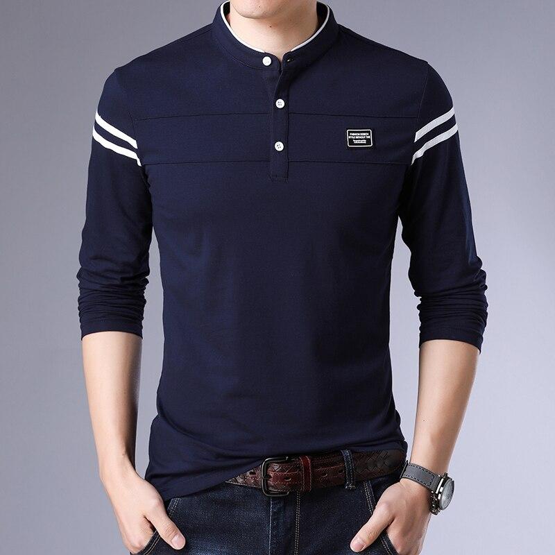 2019 New Fashion Brand   Polos   For Men Slim Fit Trending Tops Street Wear Korean Mercerized Cotton Long Sleeve   Polo   Men Clothes