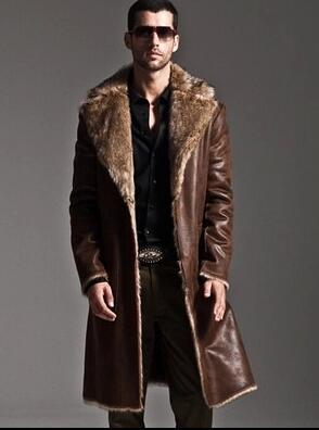 Brown warm faux fox fur rabbit fur coat mens leather jacket men coat villus winter loose thermal Wear on both sides outerwear
