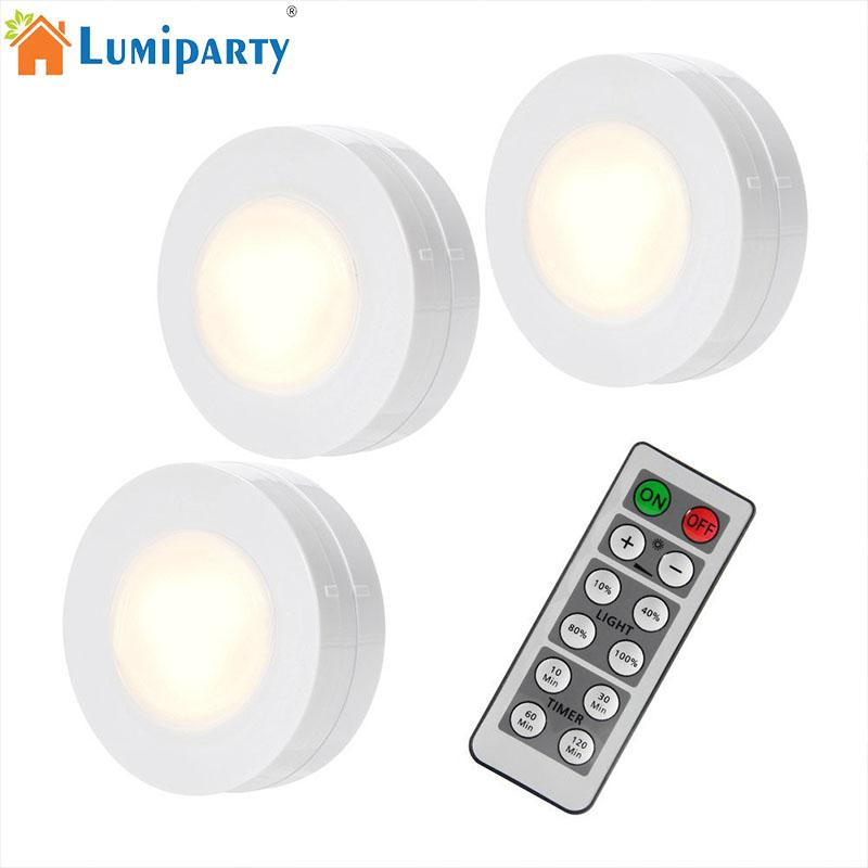 LumiParty 3pcs LED Night Light Remote Controlled Closet Lights Super Bright Under Cabinet Lighting Round Shape Dimmable Light wireless remote control led under cabinet lights battery powered led night light rf remote dimmable timer functions magnets