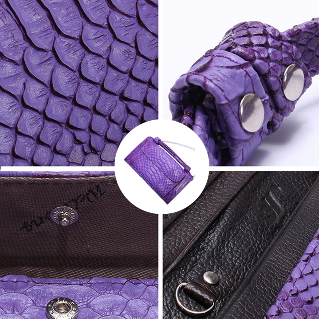 Small Crocodile Pattern Genuine Leather Clutch with Shoulder Chain