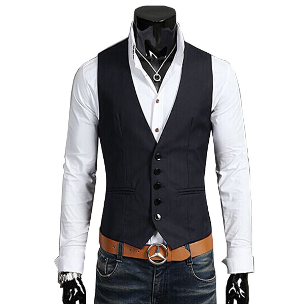 2015 Recién Llegado de Traje de Chaleco de Los Hombres de Moda de Algodón Delgado Chaleco de Aptitud de Los Hombres Blazer Tops Chalecos de Vestir Para Hombres