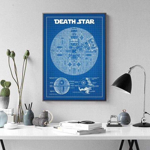 Star Wars Death Star Blueprint Wall Art Paint Wall Decor Canvas Awesome Blueprint Interior Design Painting