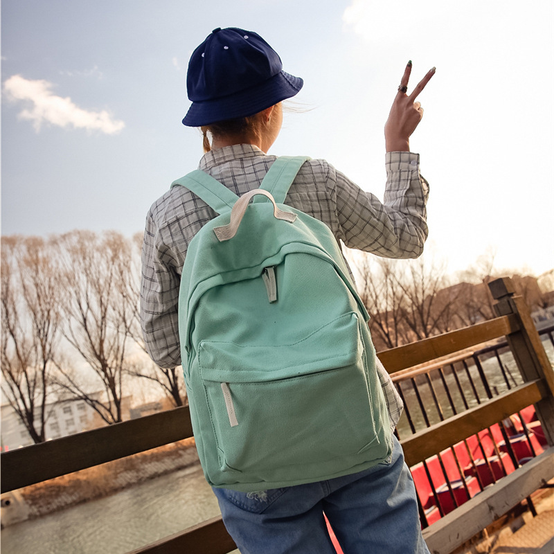 Fresh style Solid fashion Backpack female backpack Canvas design women bag leisure simple personality backpack for teenager