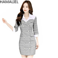 HAMALIEL Korean Women Runway Office Dress 2018 Autumn Double Breasted Turn Down Collar Ladies Gery Palid