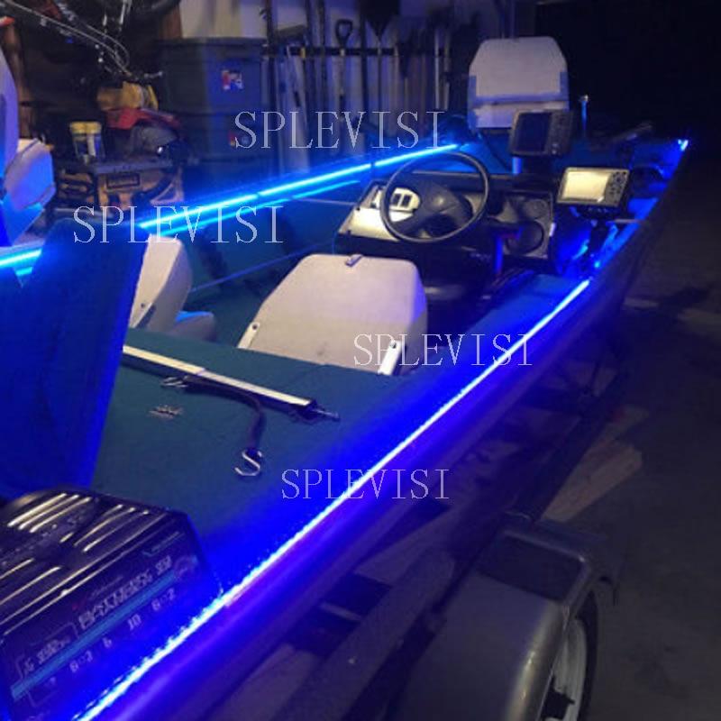 Wireless Blue White Red LED Strip Kit For Boat Marine Deck Interior Lighting 16 FT Waterproof 12v Bow Trailer Pontoon Light