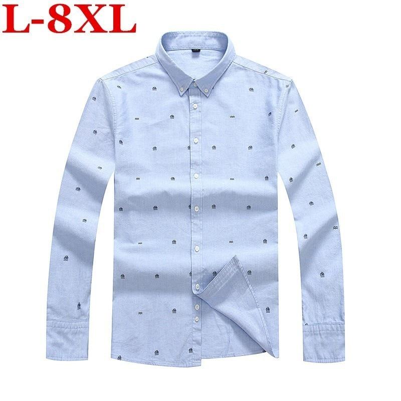 Grande taille 8XL 7XL Hommes Chemise D'affaires Florale Coton Manches Longues décontracté Vêtements De Marque De Haute Qualité hauts T-shirts Hommes Chemises