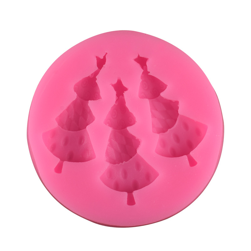WISHMETYOU NEW 3Pc Christmas Tree Silicone Soap Mold Sugar Biscuit Chocolate Mold Cake Decorating Tools Food grade Silicone DIY in Soap Molds from Home Garden
