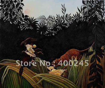 oil painting reproduction Art reproductions 100% handmade+High quality Henri Rousseau Oil Painting Eclaireurs Attaques par Tigre